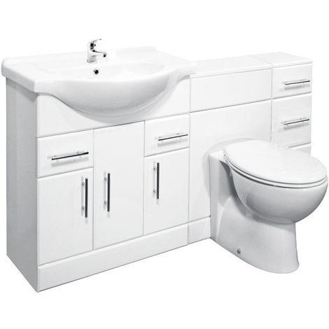 VeeBath Linx 1600mm Vanity Bathroom Furniture Set and WC Toilet Unit Pan Cistern