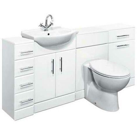 VeeBath Linx 1700mm Vanity Bathroom Furniture Set and WC Toilet Unit Pan Cistern