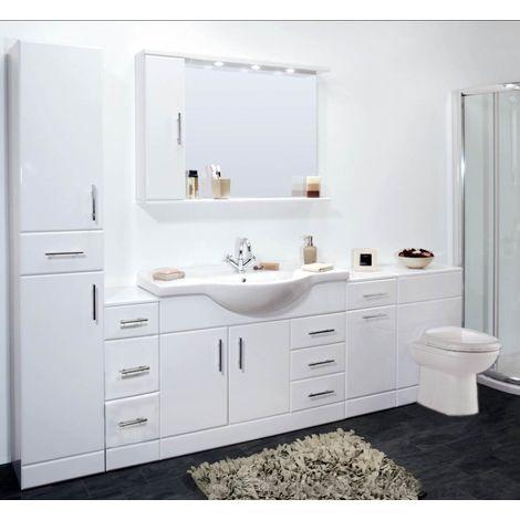 VeeBath Linx 2500mm Vanity Bathroom Furniture Set and WC Toilet Unit Pan Cistern