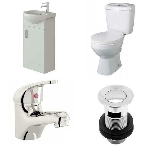 VeeBath Linx 400mm Cloakroom Vanity Unit Base Close Coupled Toilet & Mixer Tap