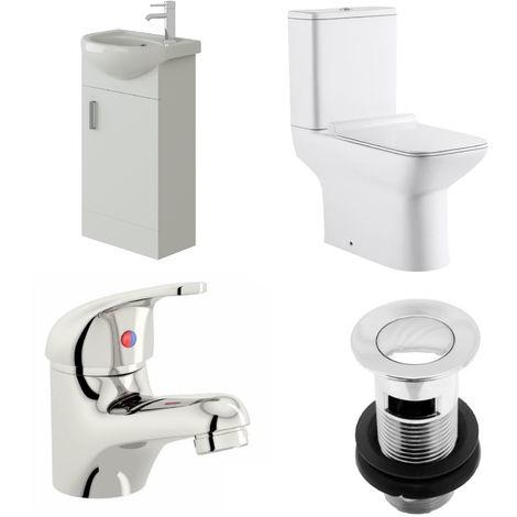 VeeBath Linx 400mm Cloakroom Vanity Unit Geneve Close Coupled Toilet & Mixer Tap