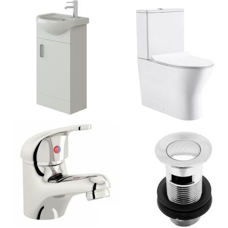 VeeBath Linx 400mm Cloakroom Vanity Unit Milan Close Coupled Toilet & Mixer Tap