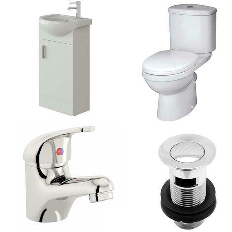 VeeBath Linx 400mm Cloakroom Vanity Unit Sleek Close Coupled Toilet & Mixer Tap
