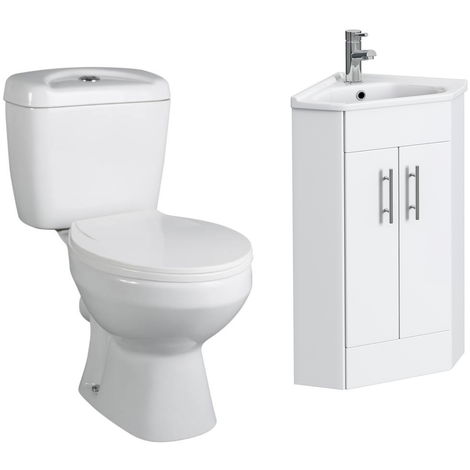 VeeBath Linx 400mm Corner Vanity Unit Base Close Coupled Toilet & Mixer Tap