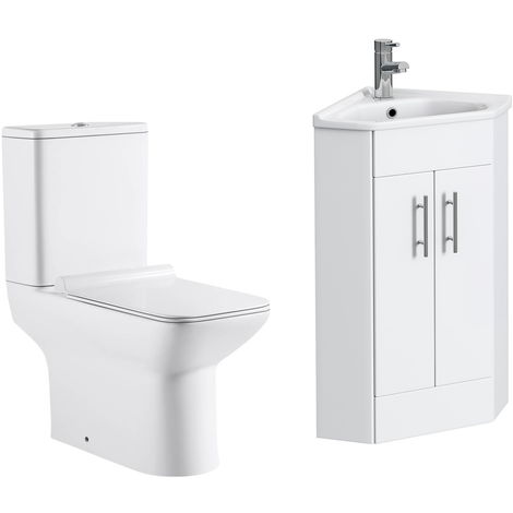 VeeBath Linx 400mm Corner Vanity Unit Geneve Close Coupled Toilet & Mixer Tap