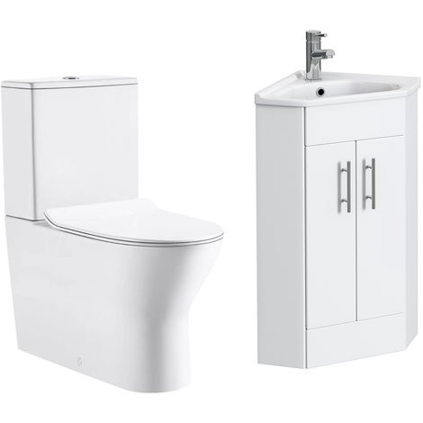 VeeBath Linx 400mm Corner Vanity Unit Milan Close Coupled Toilet & Mixer Tap