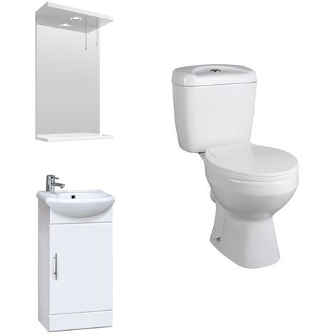 VeeBath Linx 420mm Mini Cloakroom Vanity Unit, Base Toilet & Wall Mirror Cabinet
