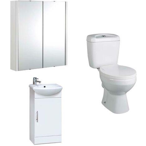VeeBath Linx 420mm White Gloss Vanity Basin Unit, Base Toilet & Mirror Cabinet