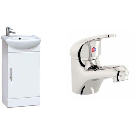 VeeBath Linx 420mm White Gloss Vanity Sink Unit & Mono Chrome Basin Mixer Tap