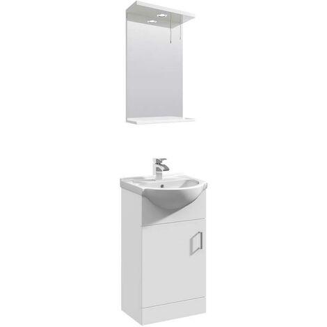 VeeBath Linx 450mm Floor Standing Vanity Unit & Mirror Cabinet Bathroom Set