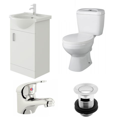 VeeBath Linx 450mm Vanity Unit Base Close Coupled Toilet & Basin Mixer Tap