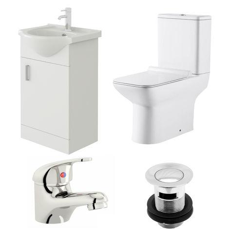 VeeBath Linx 450mm Vanity Unit Geneve Close Coupled Toilet & Basin Mixer Tap