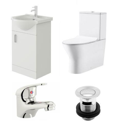 VeeBath Linx 450mm Vanity Unit Milan Close Coupled Toilet & Basin Mixer Tap
