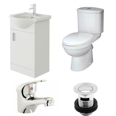VeeBath Linx 450mm Vanity Unit Sleek Close Coupled Toilet & Basin Mixer Tap