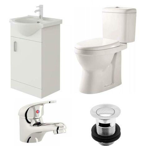 VeeBath Linx 450mm Vanity Unit Verona Close Coupled Toilet & Basin Mixer Tap