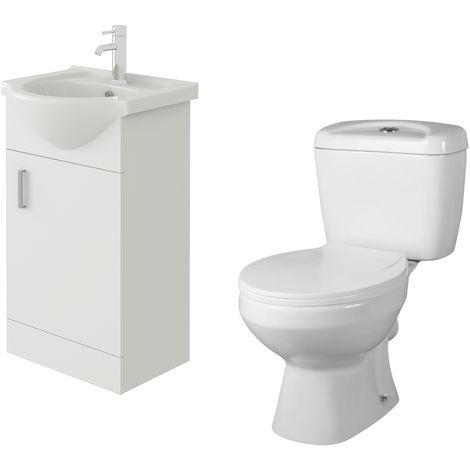 VeeBath Linx 450mm White Gloss Floor Vanity Basin Cabinet & Base Toilet Set