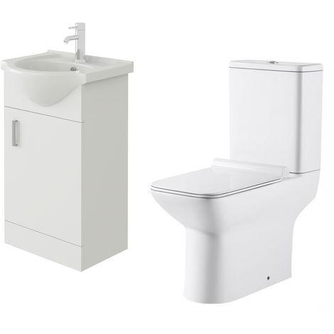 VeeBath Linx 450mm White Gloss Floor Vanity Basin Cabinet & Geneve Toilet Set