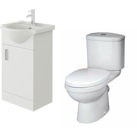 VeeBath Linx 450mm White Gloss Floor Vanity Basin Cabinet & Sleek Toilet Set