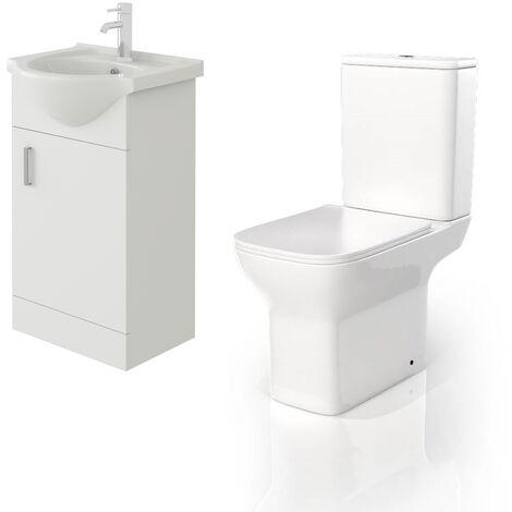 VeeBath Linx 450mm White Gloss Floor Vanity Basin Cabinet & Venice CC Toilet