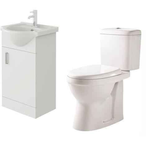 VeeBath Linx 450mm White Gloss Floor Vanity Basin Cabinet & Verona Toilet Set