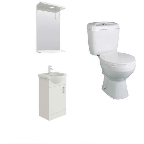 VeeBath Linx 450mm White Vanity Basin Unit, Base Toilet & Wall Mirror Cabinet