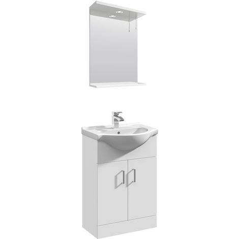 VeeBath Linx 550mm Floor Standing Vanity Unit & Mirror Cabinet Bathroom Set