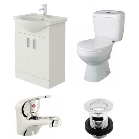 VeeBath Linx 550mm Vanity Unit Base Close Coupled Toilet & Basin Mixer Tap