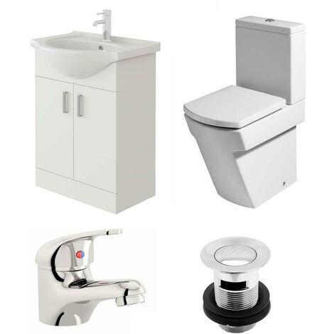 VeeBath Linx 550mm Vanity Unit Elstra Close Coupled Toilet & Basin Mixer Tap