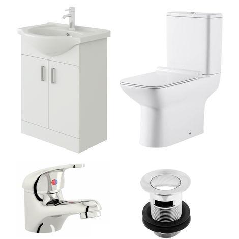 VeeBath Linx 550mm Vanity Unit Geneve Close Coupled Toilet & Basin Mixer Tap