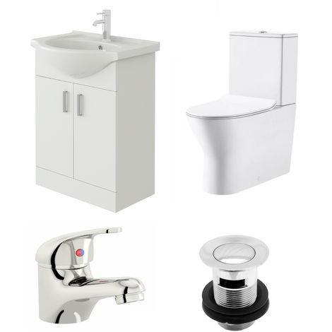 VeeBath Linx 550mm Vanity Unit Milan Close Coupled Toilet & Basin Mixer Tap
