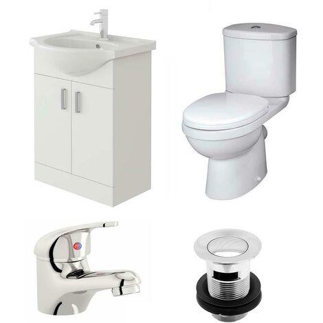 VeeBath Linx 550mm Vanity Unit Sleek Close Coupled Toilet & Basin Mixer Tap