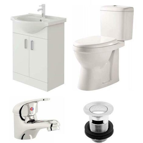 VeeBath Linx 550mm Vanity Unit Verona Close Coupled Toilet & Basin Mixer Tap