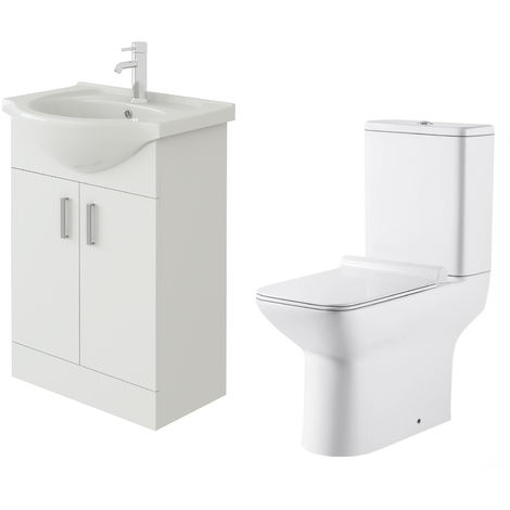 VeeBath Linx 550mm White Gloss Floor Vanity Basin Cabinet & Geneve Toilet Set