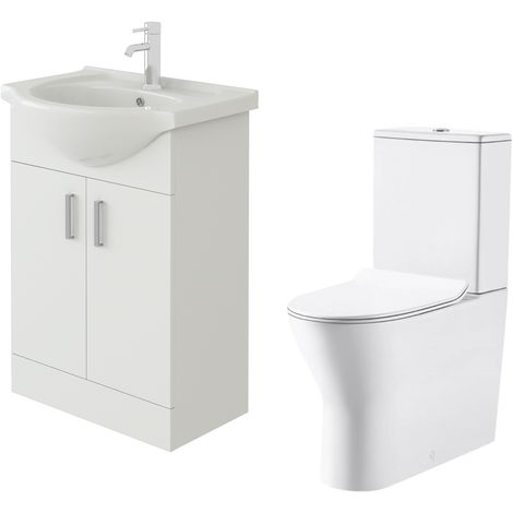 VeeBath Linx 550mm White Gloss Floor Vanity Basin Cabinet & Milan Toilet Set