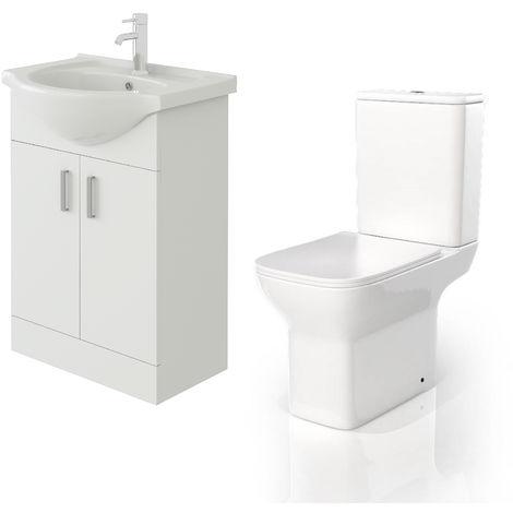 VeeBath Linx 550mm White Gloss Floor Vanity Basin Cabinet & Venice CC Toilet