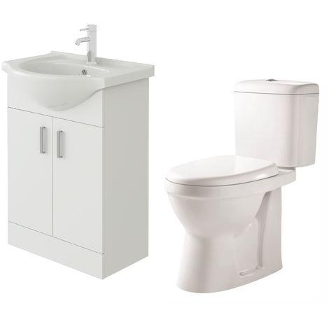 VeeBath Linx 550mm White Gloss Floor Vanity Basin Cabinet & Verona Toilet Set