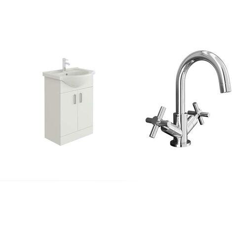 VeeBath Linx 550mm White Gloss Vanity Basin Unit & Elmbridge Chrome Basin Mixer