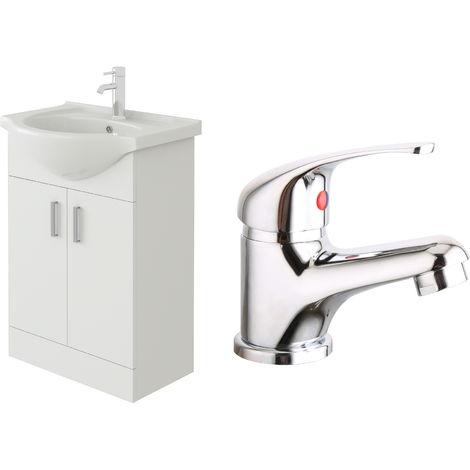VeeBath Linx 550mm White Gloss Vanity Sink Unit & Mono Chrome Basin Mixer Tap