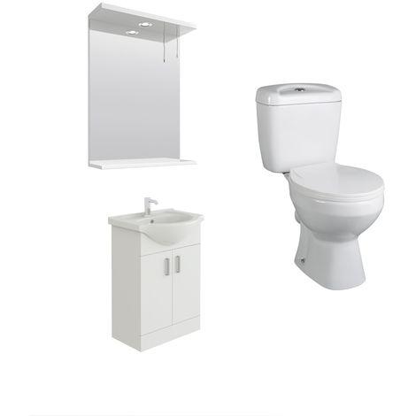 VeeBath Linx 550mm White Vanity Basin Unit, Base Toilet & Wall Mirror Cabinet