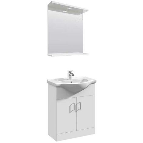 VeeBath Linx 650mm Floor Standing Vanity Unit & Mirror Cabinet Bathroom Set