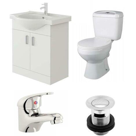 VeeBath Linx 650mm Vanity Unit Base Close Coupled Toilet & Basin Mixer Tap
