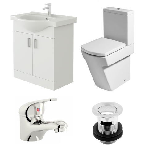 VeeBath Linx 650mm Vanity Unit Elstra Close Coupled Toilet & Basin Mixer Tap
