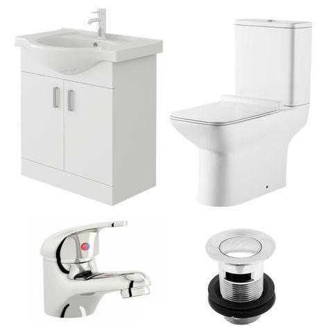 VeeBath Linx 650mm Vanity Unit Geneve Close Coupled Toilet & Basin Mixer Tap