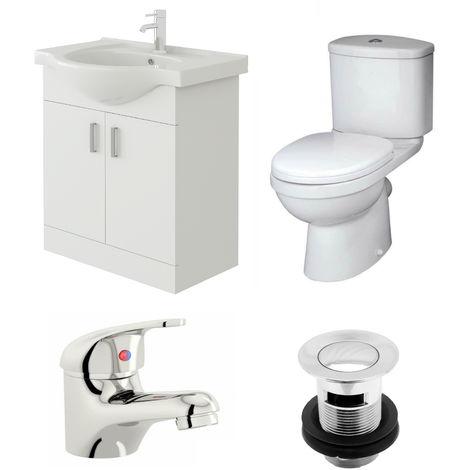 VeeBath Linx 650mm Vanity Unit Sleek Close Coupled Toilet & Basin Mixer Tap