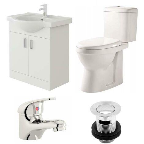 VeeBath Linx 650mm Vanity Unit Verona Close Coupled Toilet & Basin Mixer Tap