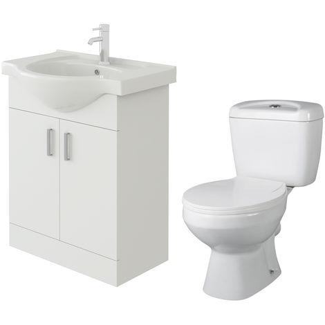 VeeBath Linx 650mm White Gloss Floor Vanity Basin Cabinet & Base Toilet Set