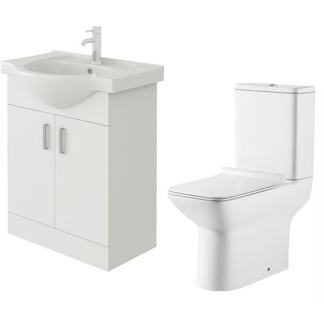 VeeBath Linx 650mm White Gloss Floor Vanity Basin Cabinet & Geneve Toilet Set