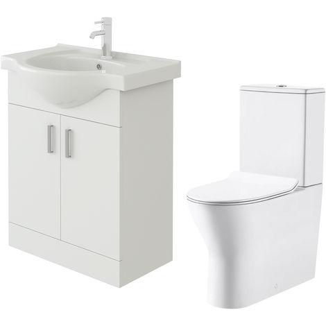 VeeBath Linx 650mm White Gloss Floor Vanity Basin Cabinet & Milan Toilet Set