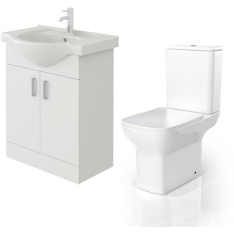 VeeBath Linx 650mm White Gloss Floor Vanity Basin Cabinet & Venice CC Toilet