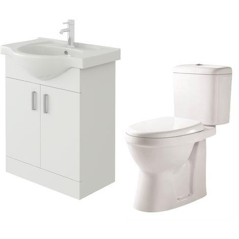VeeBath Linx 650mm White Gloss Floor Vanity Basin Cabinet & Verona Toilet Set